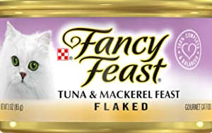 (6 Cans) of Fancy Feast Flaked Tuna & Mackerel Feast Canned Cat Food, 3-oz ea