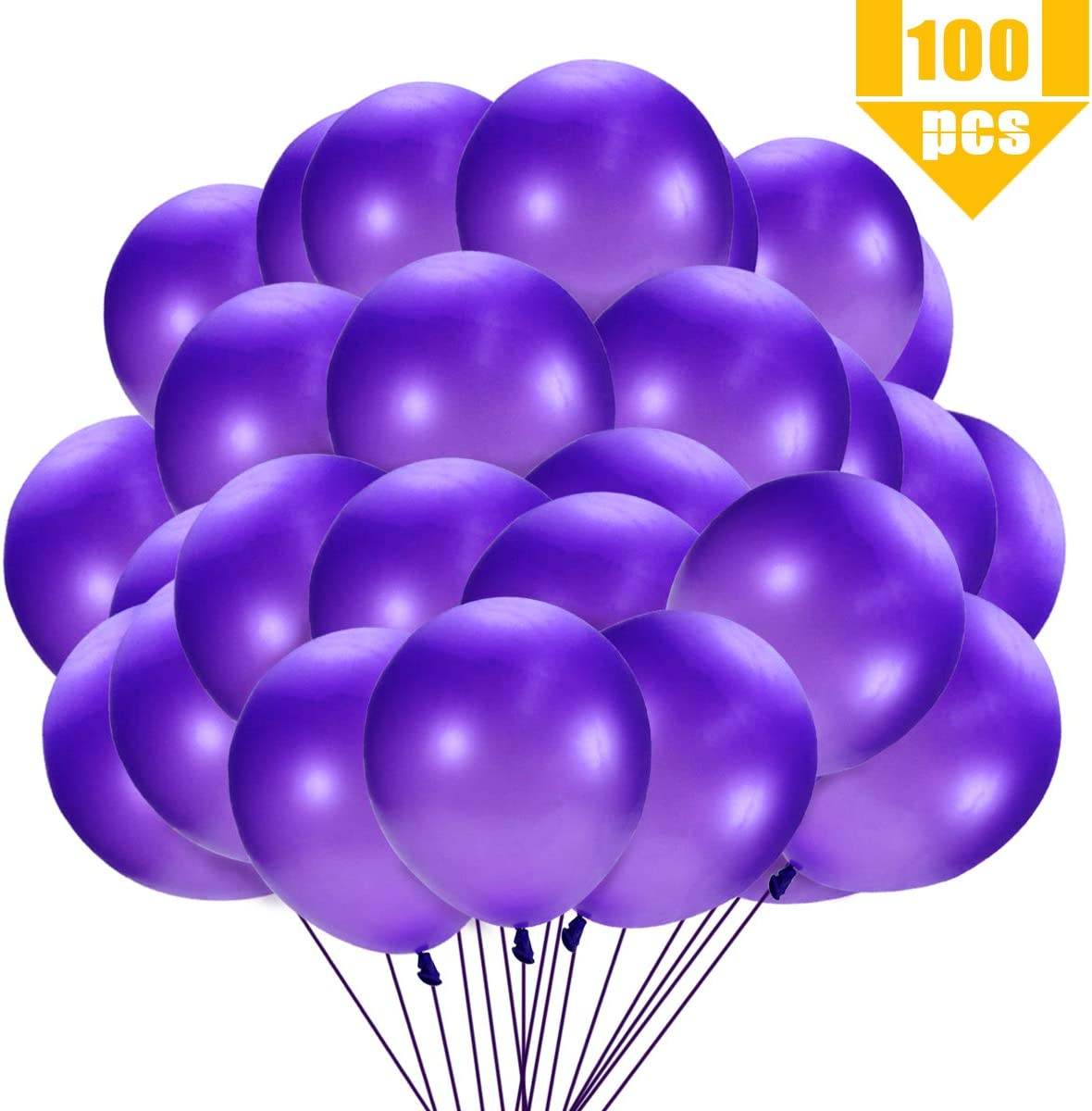 12 to 14 After Inflation, 3.2g Agreatca 100 Pcs 12 Thicken Pearlescent Purple Shiny Latex Balloons Party Balloons for Wedding or Party Decorations