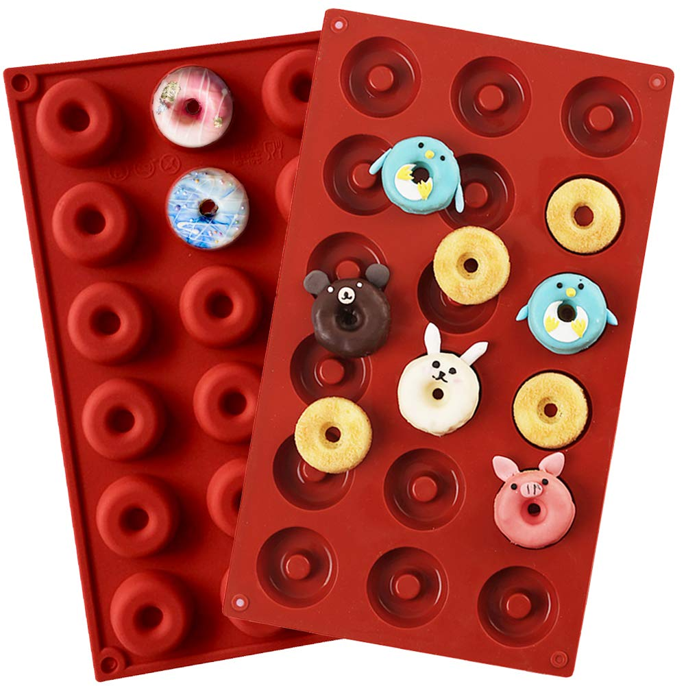 PERNY 18-Cavity Mini Donut Pan, 1.5 Inch Silicone Donut Pan, 2 Pack