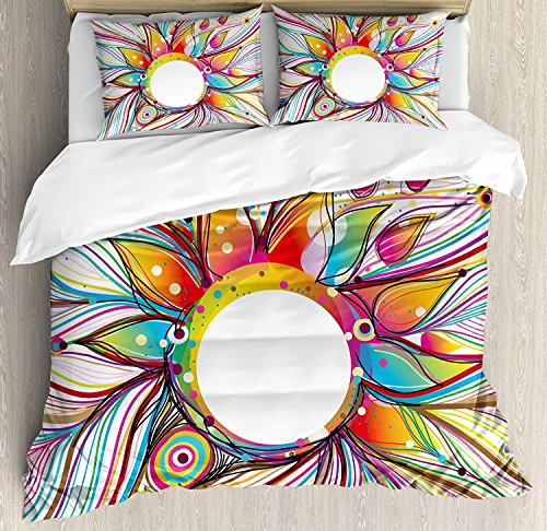 Full Size Abstract 3 PCS Duvet Cover Set, Absurd Vector Smoky Wavy Floral Design with Rainbow Alike Stripes and Lines Print, Bedding Set Bedspread for Children/Teens/Adults/Kids, Multicolor