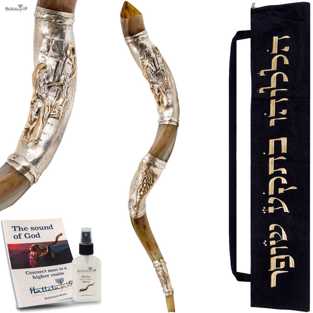 HalleluYAH Silver Plated Shofar Set: 41''-43'' Blowing Men Kudu Horn Kosher Shofar– Traditional Ancient Musical Instrument For Spiritual Ceremonies – Authentic Curved Made In Israel