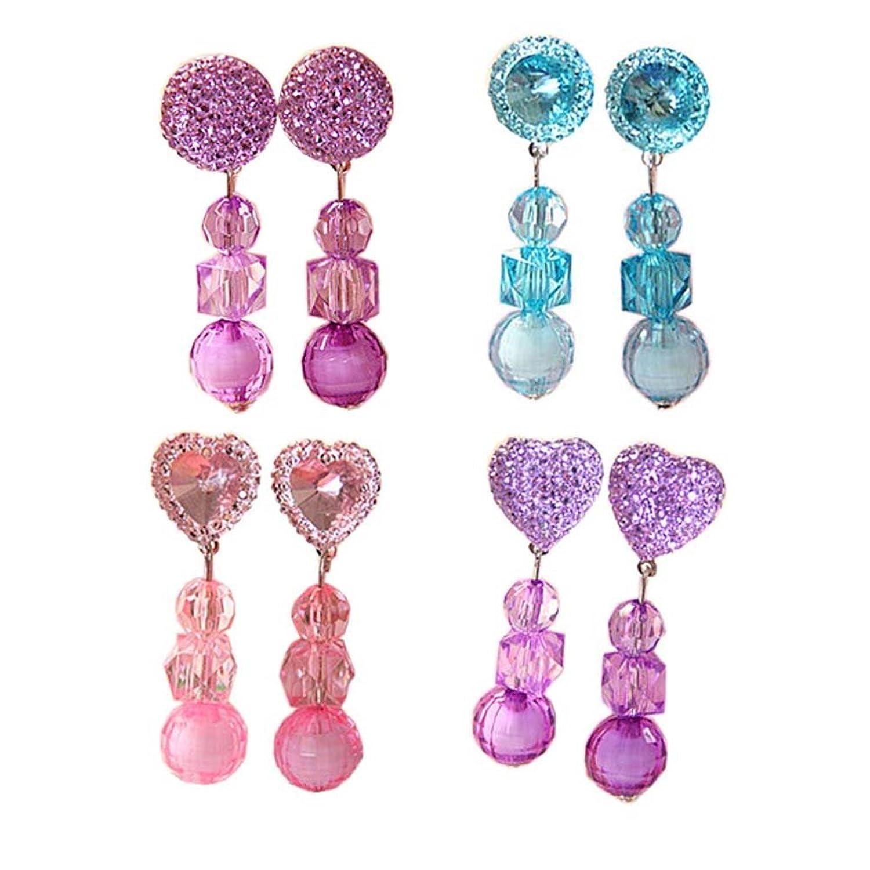 4 pares de joyería de bebé joyas pendientes de cristal colgante para las niñas Party Pretend jugar juguetes vestir Set, # 08