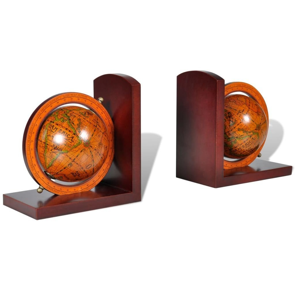 Saideke Home Bookstand World Map Globe Bookend Classic A Pair For books and documents