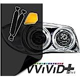 "VViViD Air-Tint Extra-Wide Headlight Taillight Vinyl Tint Wrap 16"" x 48"" Roll Including Yellow Detailer Squeegee & 2x Black Felt Edge Decals (Smoke Black)"