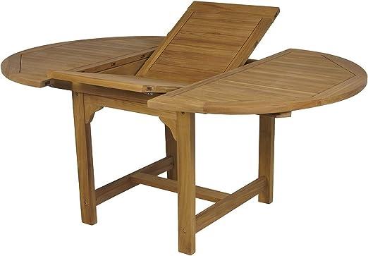Mesa Extensible Reforzada de Teca. Apertura de 120 a 170cm ...
