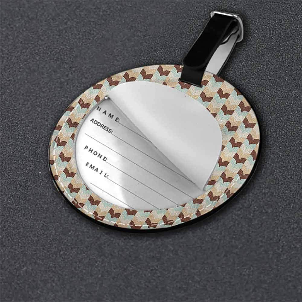 Creative Baggage Abstract,Weathered Effect Rhombuses Label Tag Address Holder