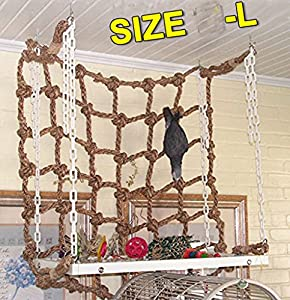 "20"" x20"" Parrot Bird Swing Thick Chew Rope Hammock Hanging Cage Toys Climbing Ladder for Macaw African Greys Cockatoo Budgies Parakeet Cockatiel"