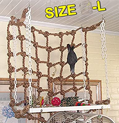"""S-LINE 20"""" x20"""" Parrot Bird Swing Thick Chew Rope Hammock Hanging Cage Toys Climbing Ladder for Macaw African Greys Cockatoo Budgies Parakeet Cockatiel by S-line"""
