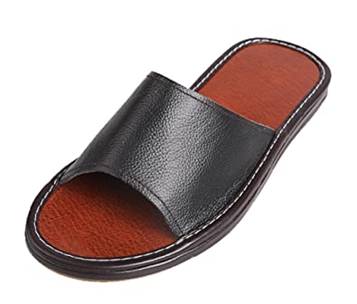 399db63c0 Cattior Mens Solid Summer Leather Slippers Open Toe Slippers (6, Black)