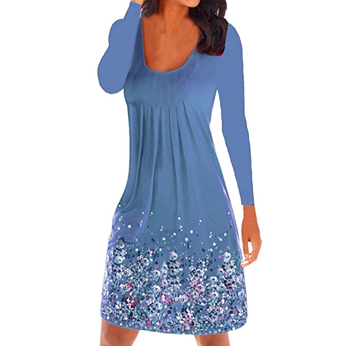 26a440b75fb0 Damen Damen Kleider Lang Strand Abendkleid Schulterfrei Maxikleid Off  Shoulder Elegant Langarm V-Ausschnitt Cusual T-Shirt Kleid  Amazon.de   Bekleidung