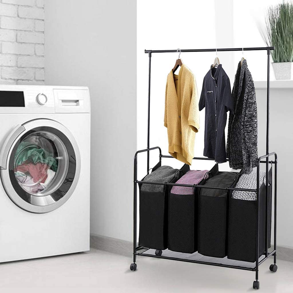 Toysgift 4-Bag Larger Laundry Sorter with Hanging Bar,Heavy Duty Clothes Rack Hanging Rolling Laundry Cart with Wheels Rod Garment Rack Storage Cart,42 x 17 x 67 in,Ship from CA.,NJ.