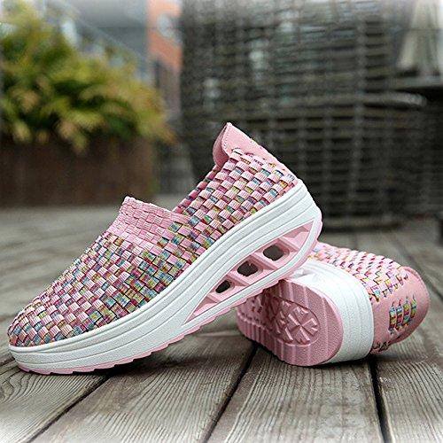 Cybling Dames Handgemaakte Sneakers Slip Op Lage Hak Lage Top Ademende Geweven Schoenen Roze