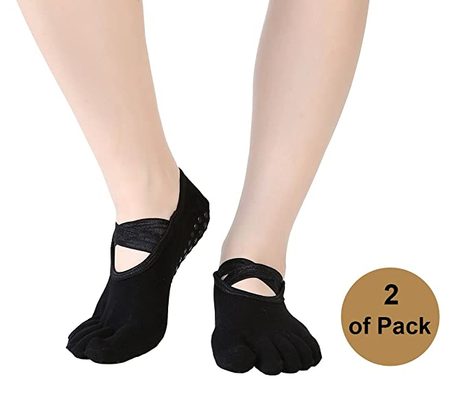 Amazon.com: Jujuism Women Yoga Socks Non Slip Skid Crossed ...