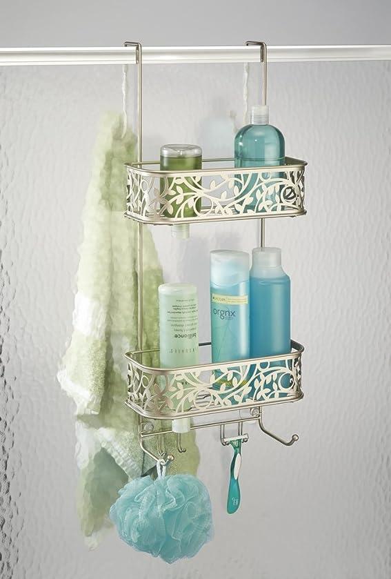 mdesign duschablage zum hngen ber die duschtr verziertes duschregal ohne bohren aus metall 2 duschkrbe zum einhngen fr duschzubehr silber - Duschzubehor Zum Hangen