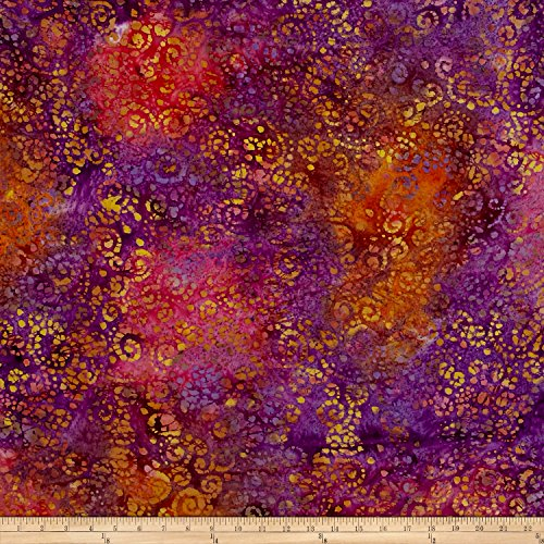 Textile Creations Indian Batik Scroll Purple/Wine/Brown Fabric by The Yard