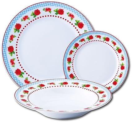 ea2395071f25c8 18 pièces Vaisselle avec décor floral Service de table pour 6 personnes Set  (6 Assiettes