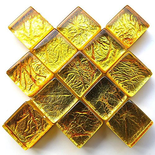 Craft Mosaic tiles 20mm Amber 49 tiles Foil