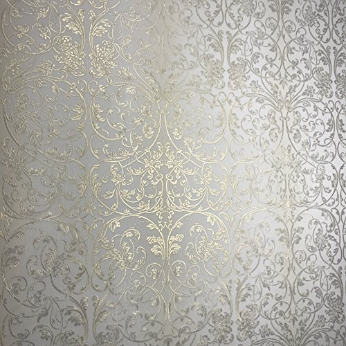 113 sq. ft. Rolls Embossed Slavyanski wallcoverings Washable Victorian Floral Damask Pattern Vinyl Non-Woven Wallpaper Off White Ivory Gold Metallic Textured coverings 3D Modern Paste The Wall only ()