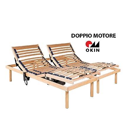 MEMORYLINE Super Offerta - Luxury Line Rete elettrica motorizzata  Matrimoniale (160x190), Doppio Motore OKIN per Lato, Telaio in Legno  Naturale di ...