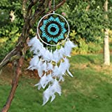 India Dream Catcher Large Handmade Wall Hanging for Kids Bedroom – White Dreamcatcher Hanging Feather Ornament