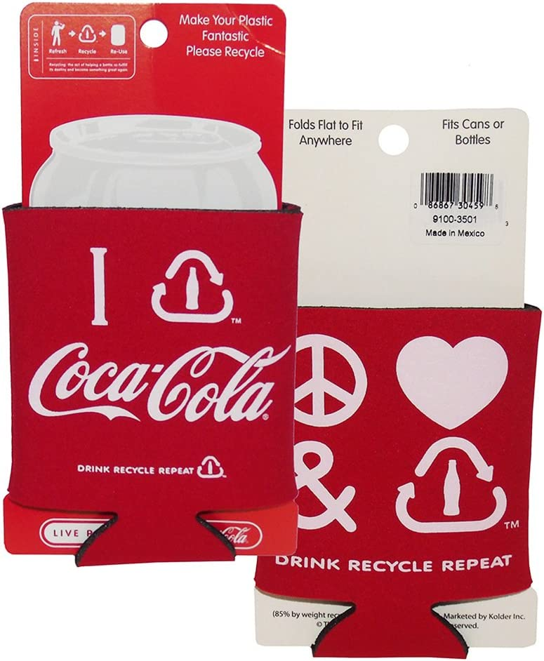 Coca-Cola Classic Can Insulator - Peace Love Recycle Set 2