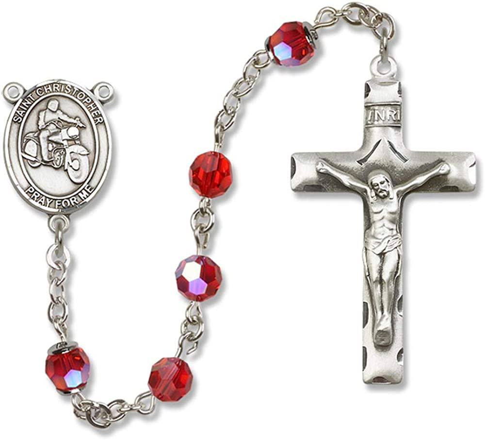 All Sterling Silver Rosary with Ruby Christopher//Motorcycle Center is the Patron Saint of Travelers//Motorists. Austrian Tin Cut Aurora Borealis Beads St 6mm Swarovski
