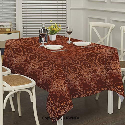 RWNFA Waterproof Tablecloth,Vintage Lacy Persian Arabic Pattern from Ottoman Empire Palace Carpet Style Artprint (52