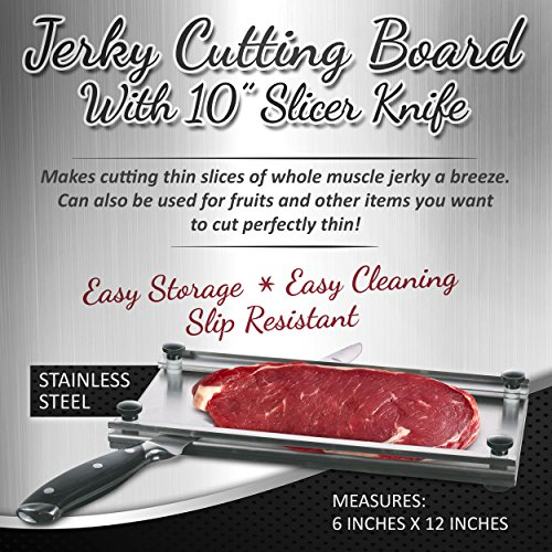 Meat slicer Stainless Steel Jerky Maker Cutting Board With 10-Inch Professional Slicing and Carving Knife
