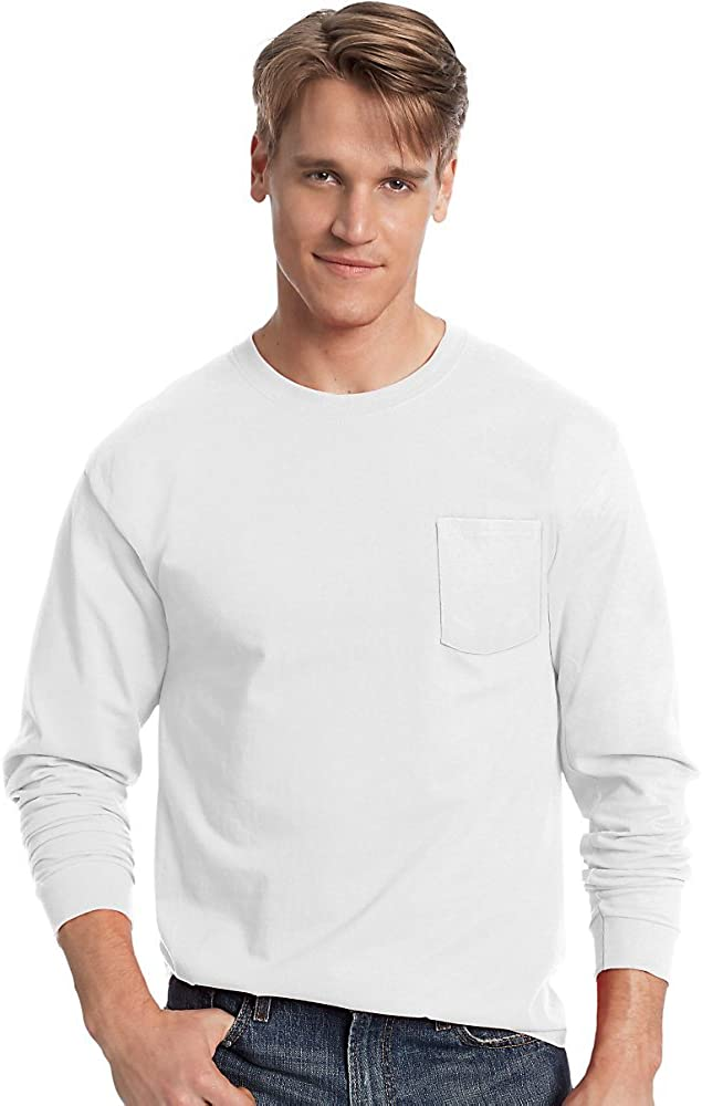 Hanes Tagless Long Sleeve T-Shirt with a Pocket