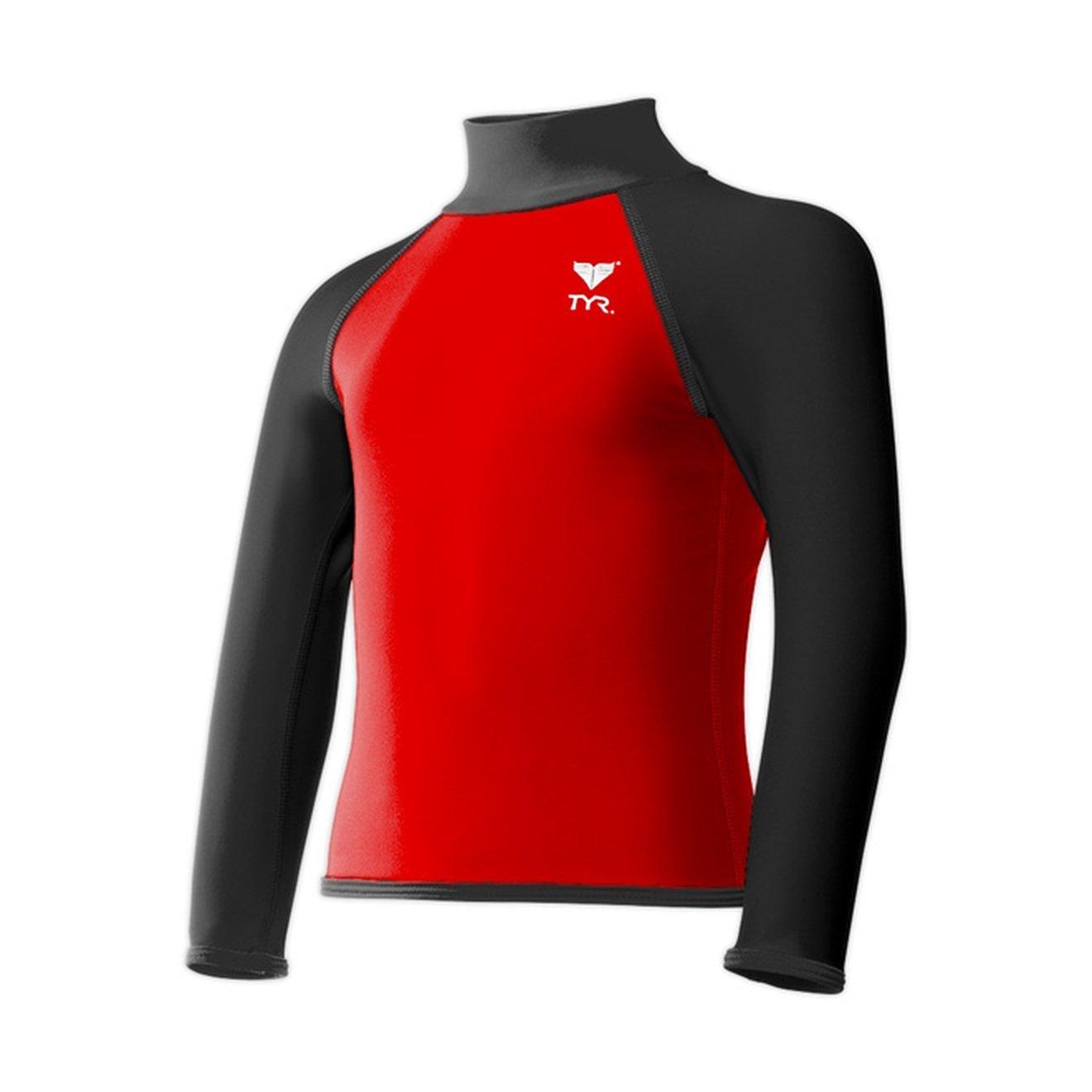 TYR Kids Boys Solid Rashguard Little Kids//Big Kids Red//Black Swimsuit Top
