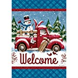 Winter Truck – Welcome – STANDARD Size, 28 Inch X 40 Inch, Decorative Double Sided Flag Printed in USA – Copyright and Licensed, Trademarked by Custom Décor Inc. For Sale