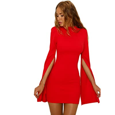 Sexy Dresses for Women Bodycon Backless Split Sleeve Dress at Women's Clothing store