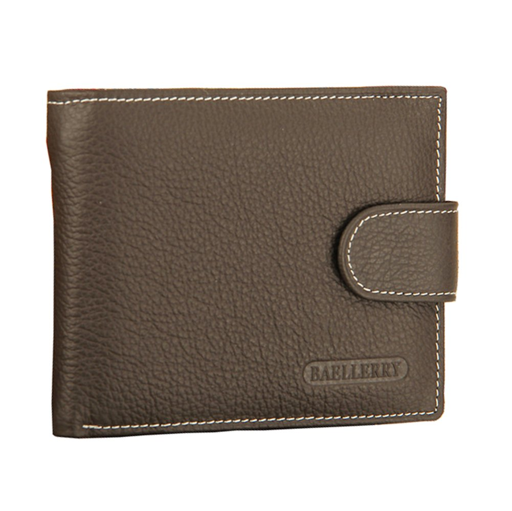 Youli Retro Soft Genuine Leather Wallet Men Buckle Bifold Designer ID Windows, Credit Card Slots, Note Pocket & Secure Zip Coin Purse Gift Box