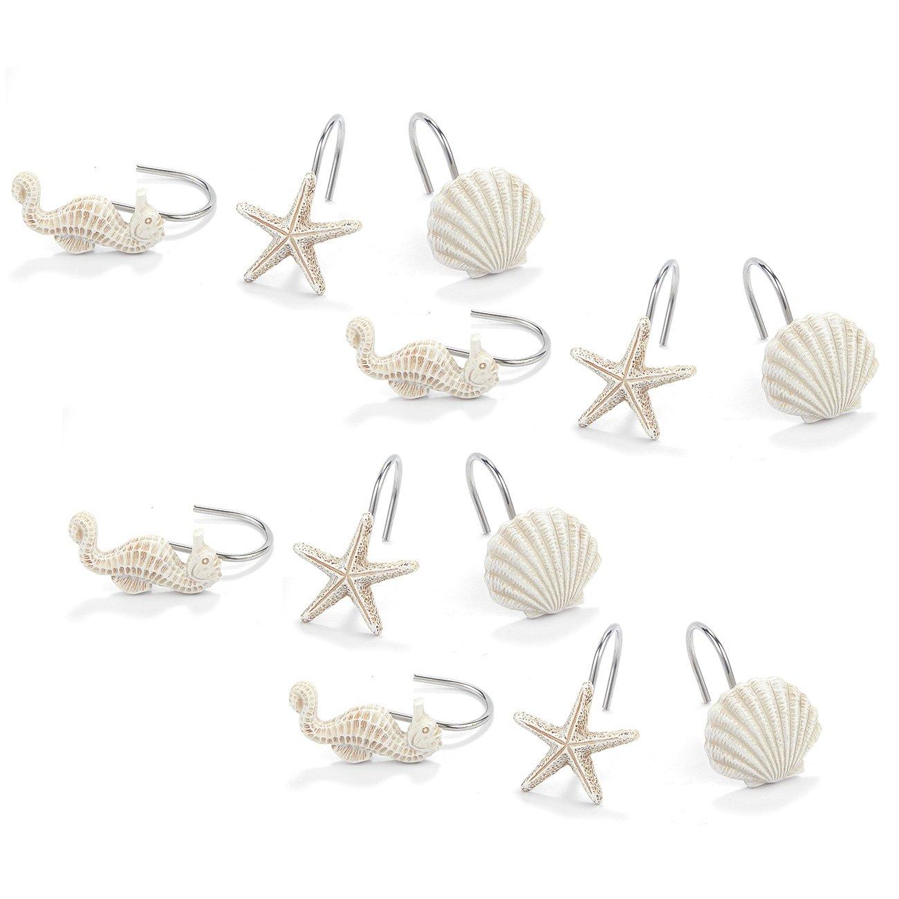 Juvale Seashell Shower Curtain Hooks - 12-Pieces Decorative Bath Curtain Rings for Beach, Mermaid, Ocean-Themed Bathroom - Seahorse, Seashell, Starfish Designs, White