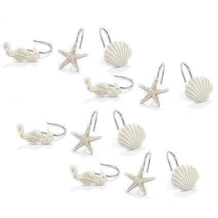 Juvale Seashell Shower Curtain Hooks