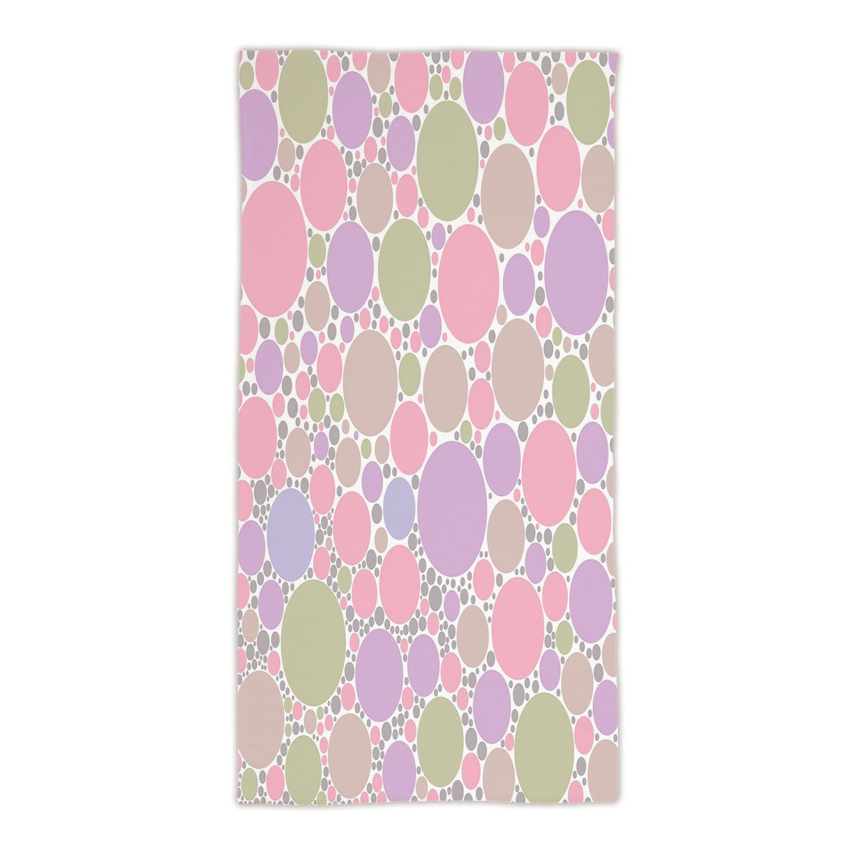 31.49''W x 62.99''L Cotton Microfiber Bath/Hand Towel,Pastel,Soft Large Small Geometric Circle Oval Polka Dots Retro Style Feminine Decorative,Rose Pale Pink and Green,Ultra Soft,For Hotel Spa Beach Poo