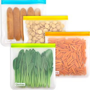 Reusable Gallon Freezer Bags - 4 Packs Reusable Storage Bags, LEAKPROOF Extra Thick Gallon Resealable Lock Seal Bag For Marinate Meat Cereal Sandwich Snack Lunch Travel Items Home Organization
