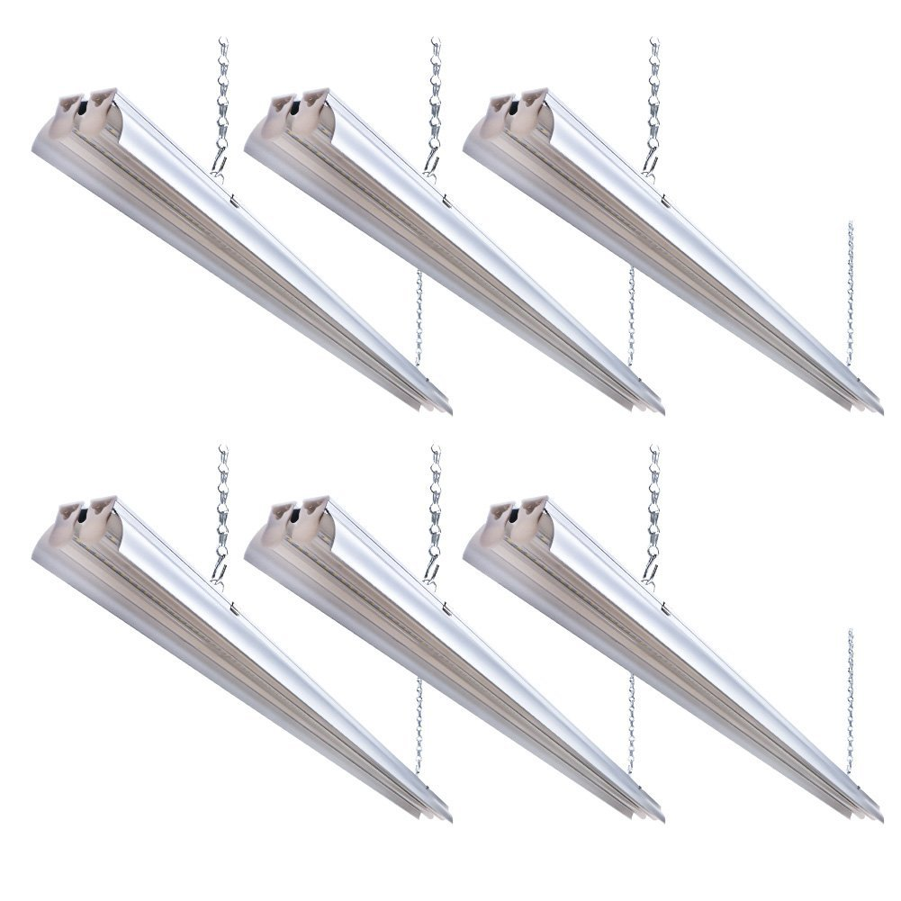 Barrina Linkable LED Utility Shop Light with reflector, 4ft 5000 Lumens 45W 6000K Super Bright White, Durable LED Fixture with Chain, Hanging or Flush Mount, Ideal for Garage Shop Workbench(Pack of 6)