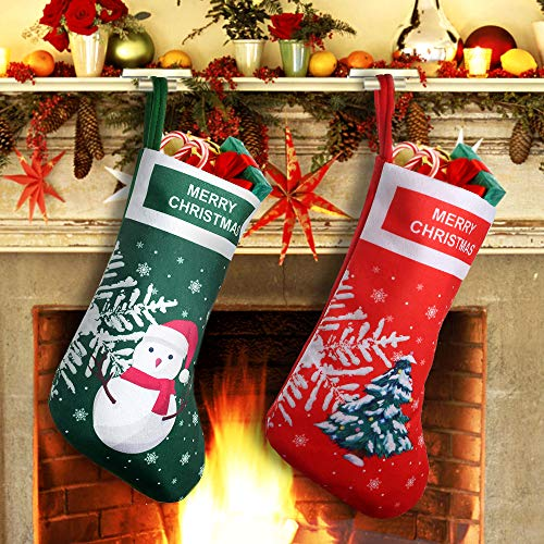 EasyAcc Christmas Stockings Personalized Large Size Classic Fireplace Stockings Adorable Felt Materials Stocks for Child Treats Toys Family Holiday Xmas Cheer Party New Year Decor Gifts - Xmas Tree
