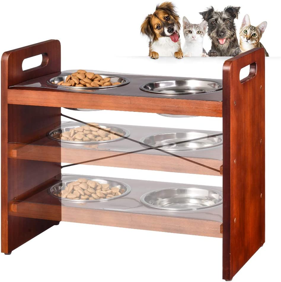 Pet Bowls for Cats and Dogs, Raised 3 Adjustable Wooden Elevated Feeder Stand with 2 Stainless Steel Bowls and Waterproof pad