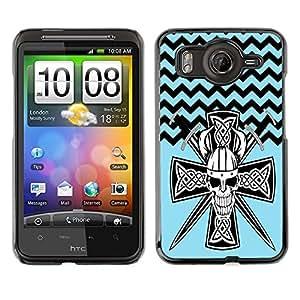 - Devil Cross Chevron Pattern - - Monedero pared Design Premium cuero del tirš®n magnšŠtico delgado del caso de la cubierta pata de ca FOR HTC Desire G10 A9191 Funny House