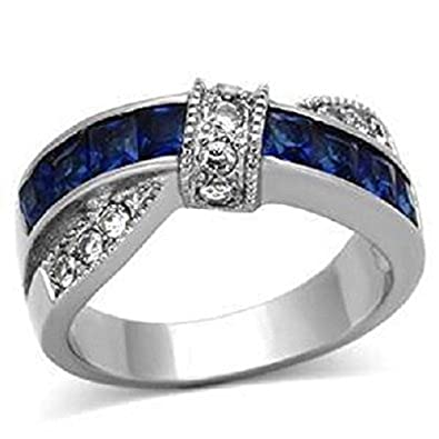 YourJewelleryBox TK1829 ENGAGEMENT RING SIMULATED DIAMOND WEDDING BAND SET PRINCESS SAPPHIRE 8S9hYv
