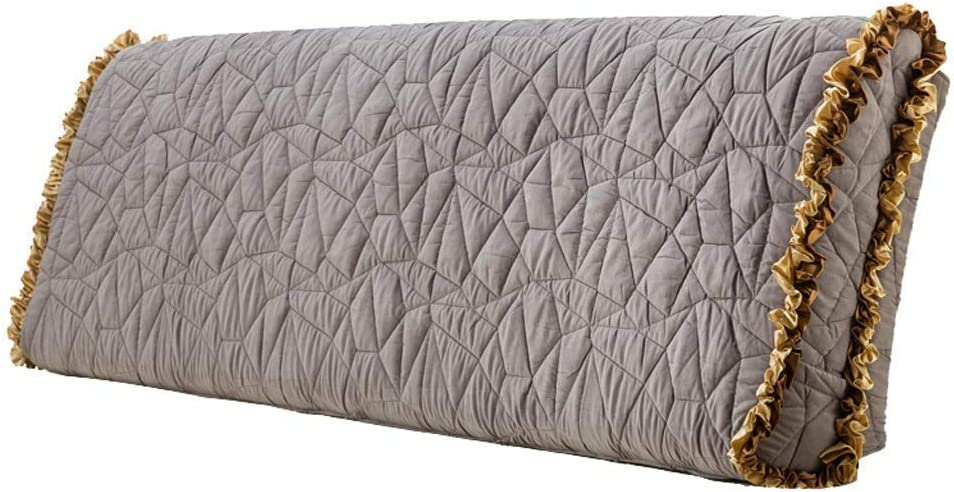 柔らかい背もたれ、無垢材のダブルベッド、大きなクッション、洗える枕のない背もたれクッションと枕4色、7サイズ(色:グレー、サイズ:90 * 60 cm)
