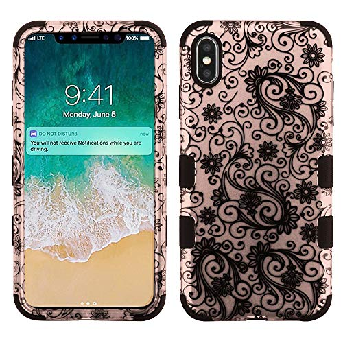 Mybat Apple-iPhone Xs Max Black Four-Leaf Clover (2D Rose Gold)/Black TUFF Hybrid Phone Protector Cover [Military-Grade Certified] from MYBAT