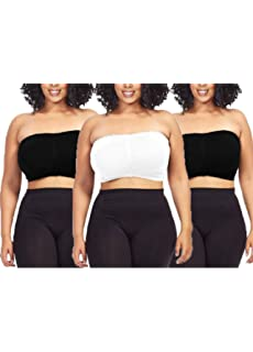 f2c33838f6b8e 3 Pack Tube Tops Plus Size Soft Seamless Bandeau Queen Size Black White  Beige Padded Top Fashion