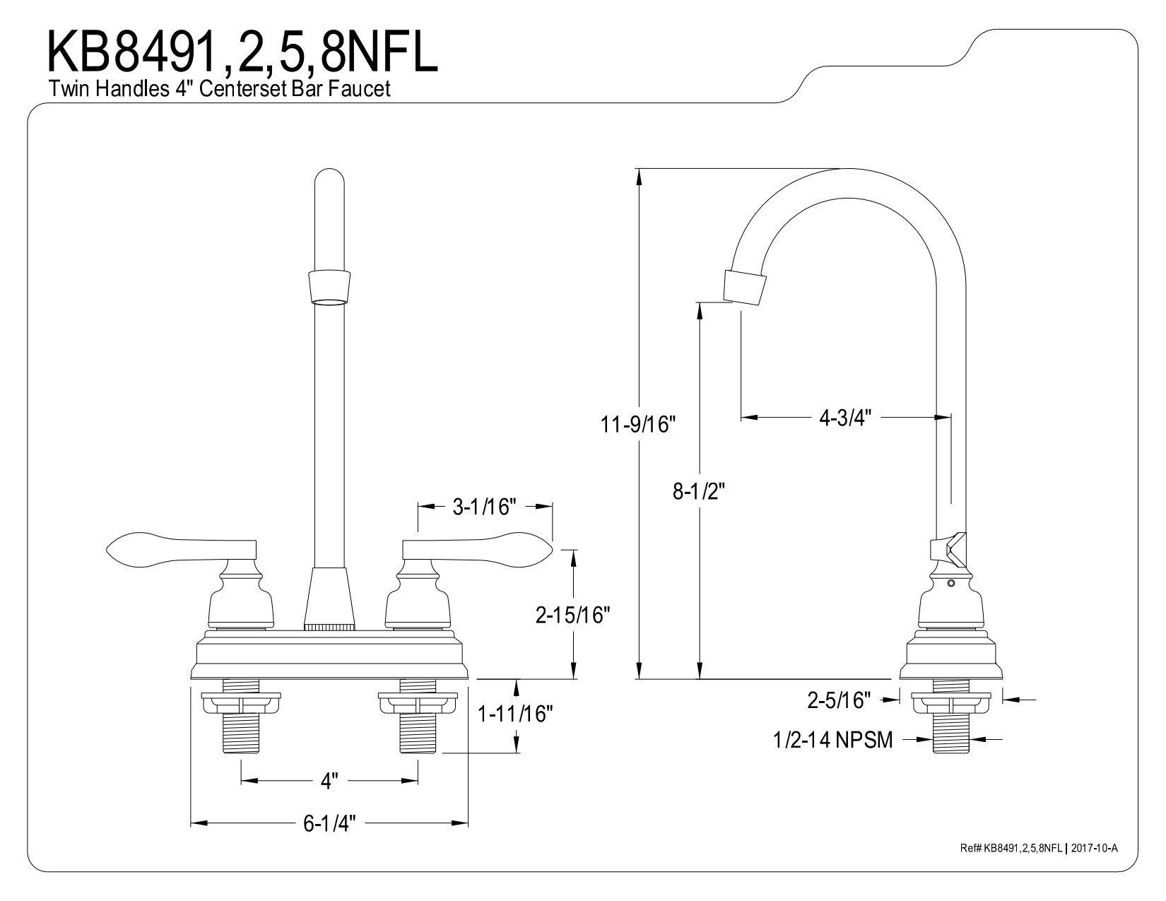 Kingston Brass KB8495NFL Nuwave French 4'' Bar Faucet, Oil Rubbed Bronze