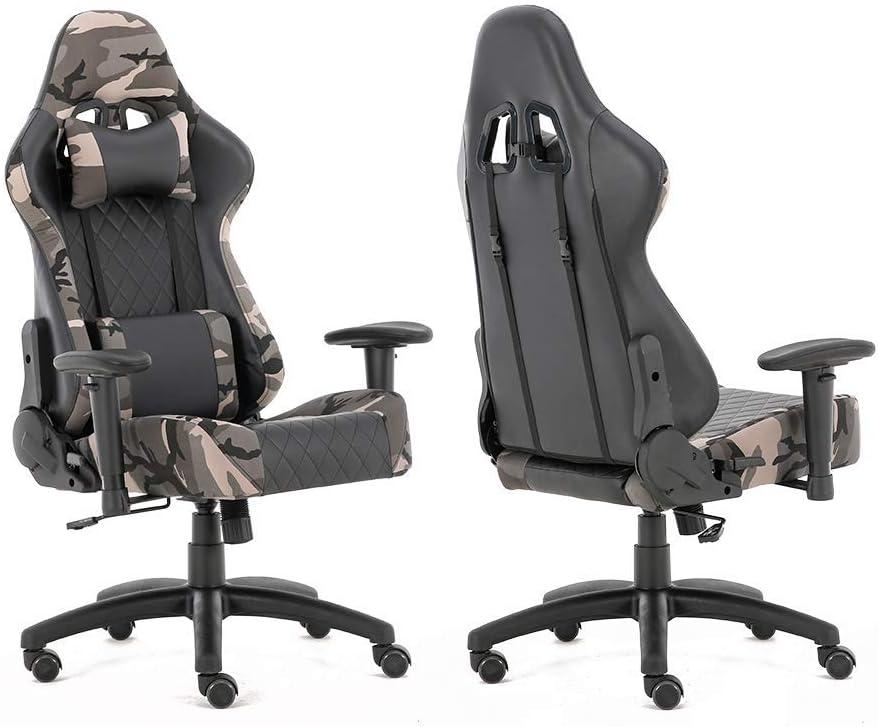 Ergonomic E-Sports Gaming Racing Chair w//Headrest Lumbar Pillows High Back PU Leather Office Room Camo