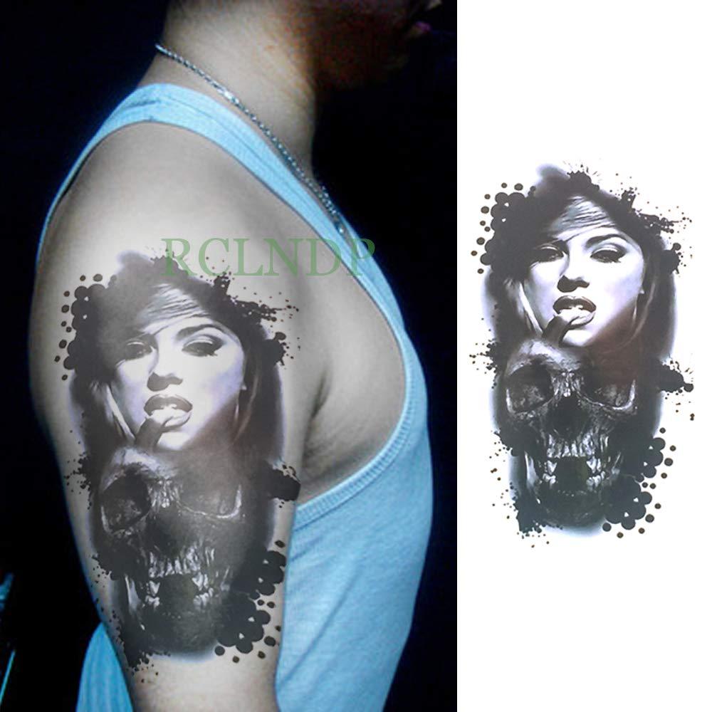 tzxdbh Impermeable Temporal Etiqueta Engomada del Tatuaje Cabeza ...
