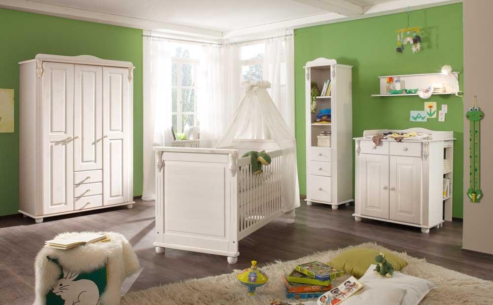Babyzimmer, Kinderzimmer, Komplett-Set, Babymöbel, Einrichtung, Junge, Mädchen, Kleiderschrank, Wickelkommode, Babybett, weiß Wachs