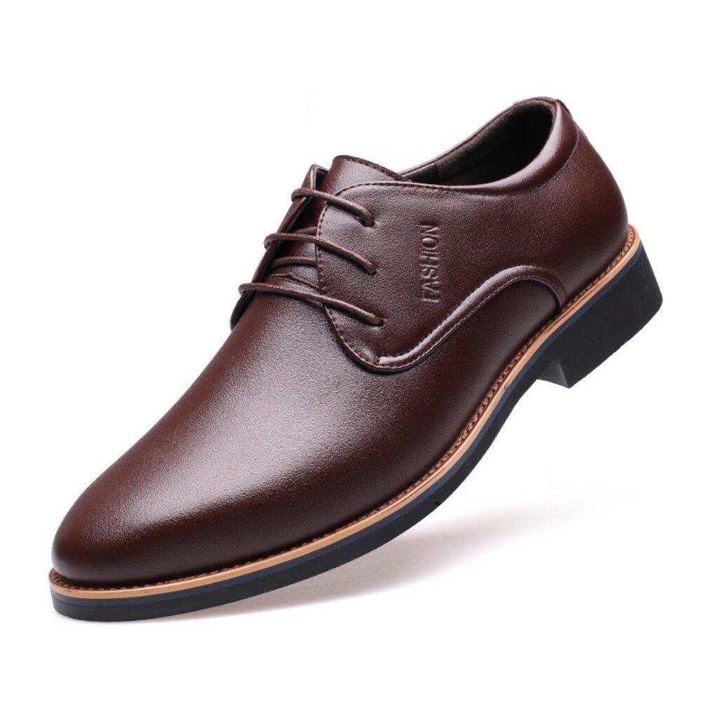 Herren Schuhe Formale Schuhe Frühjahr Sommer Herbst Herren Business Schuhe Low-Top Breathable Casual Kleid Büro Lederschuhe (Farbe   Braun, Größe   39)